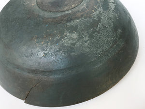 19th Century Teal-Gray Wooden Bowl