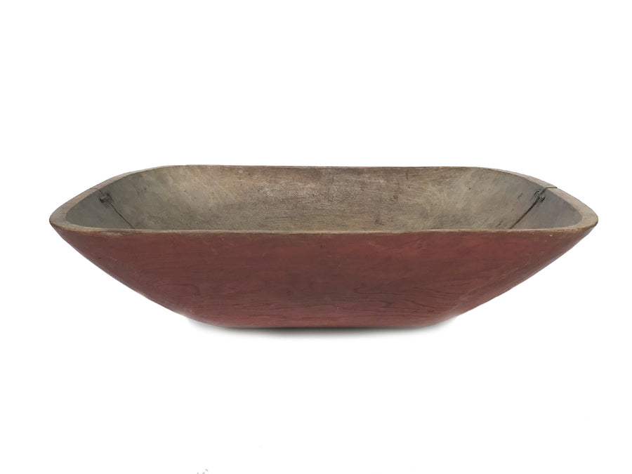19th Century Handcarved Red Wooden Bowl