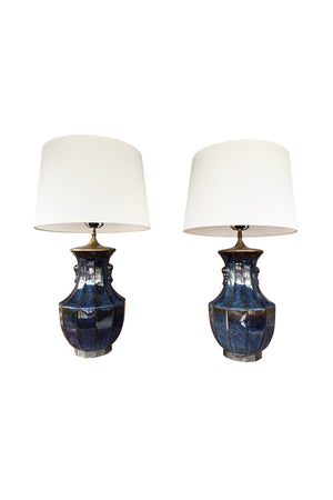 Pair of 1940s Danish Blue Ceramic Table Lamps