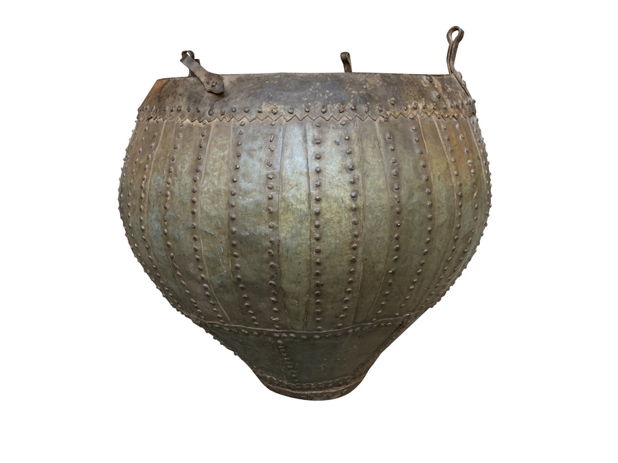 20th Century Studded Brass & Bronze Urn