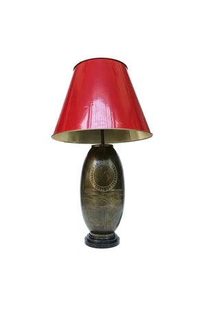 20th Century Brass Table Lamp with Atlas Design