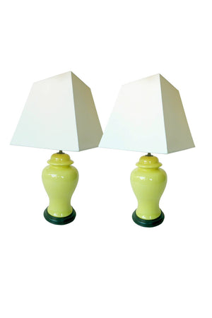 20th Century Chinese Ceramic Ginger Lamps - a Pair