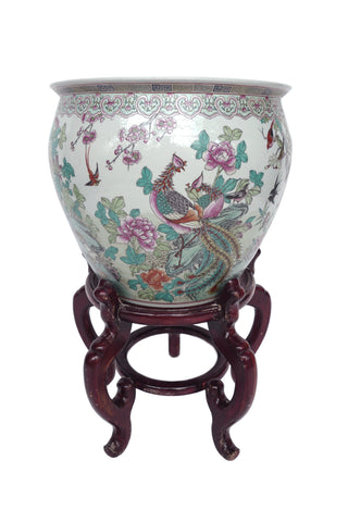 20th Century Chinese Hand-Painted Ceramic Fishbowl