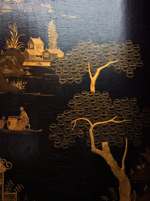 20th Century Four-Panel Chinoiserie Gilt Painted Folding Screen