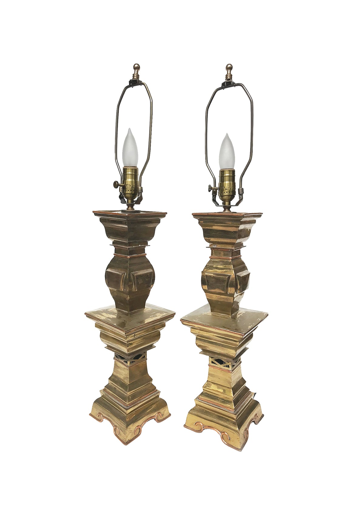 Converted Mid-20th Century Brass Candle Table Lamps - a Pair