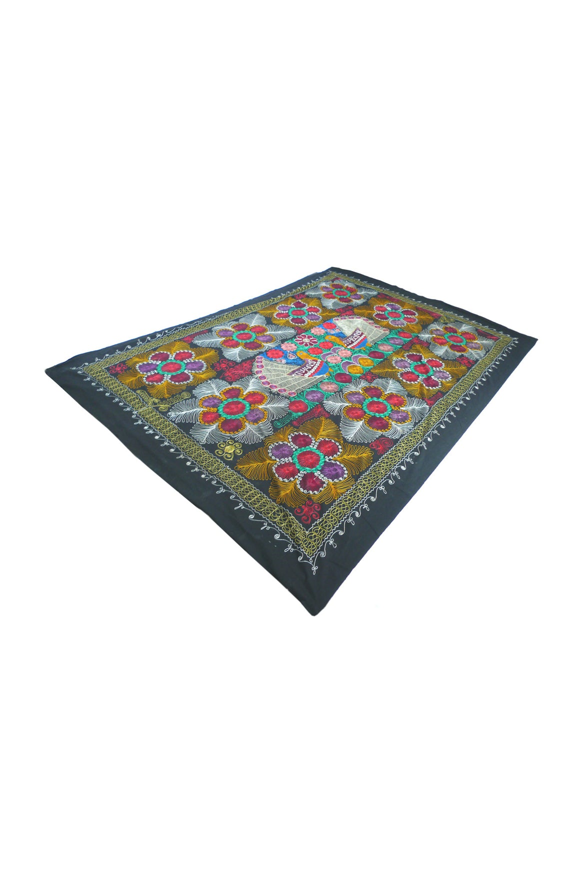 20th Century Embroidered Silk Suzani Tapestry