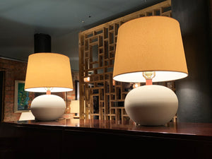 Pair of White Ceramic Globe Table Lamps Attributed to George Scatchard
