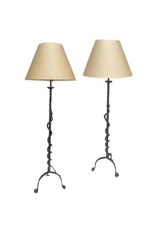 Pair of 20th Century Hand-Forged Iron Snake Floor Lamps