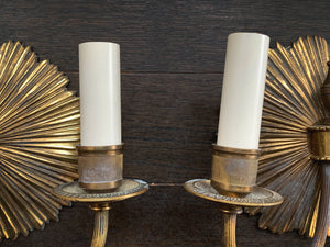 Pair of 1940s French Deco Brass Sun Sconces