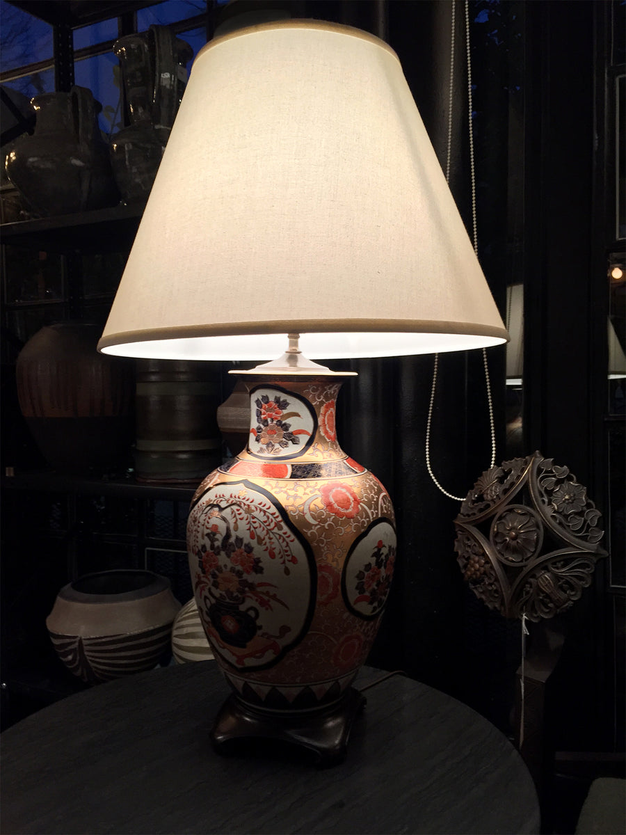 20th Century Imari-Style Porcelain Vase Table Lamps - a Pair
