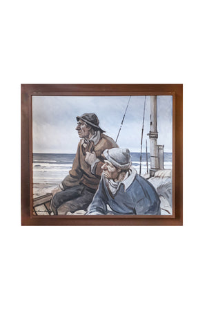 """Fishermen Overlooking Sea"" - Framed Oil Painting"