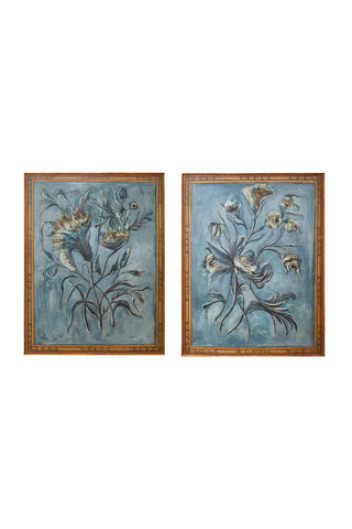 20th Century Hand-Painted Decorative Floral Panels - a Pair