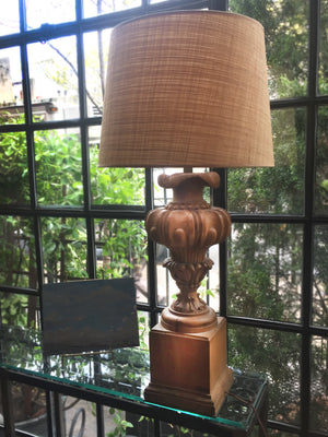 Pair of 20th Century Carved Wood Baluster Table Lamps
