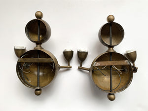 Pair of Mid-20th Century French Brass Double-Arm Sconces