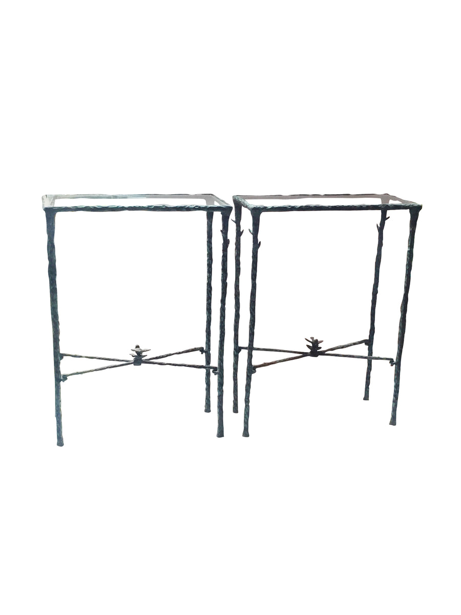 20th Century Wrought Iron Side Tables Inspired by Giacometti