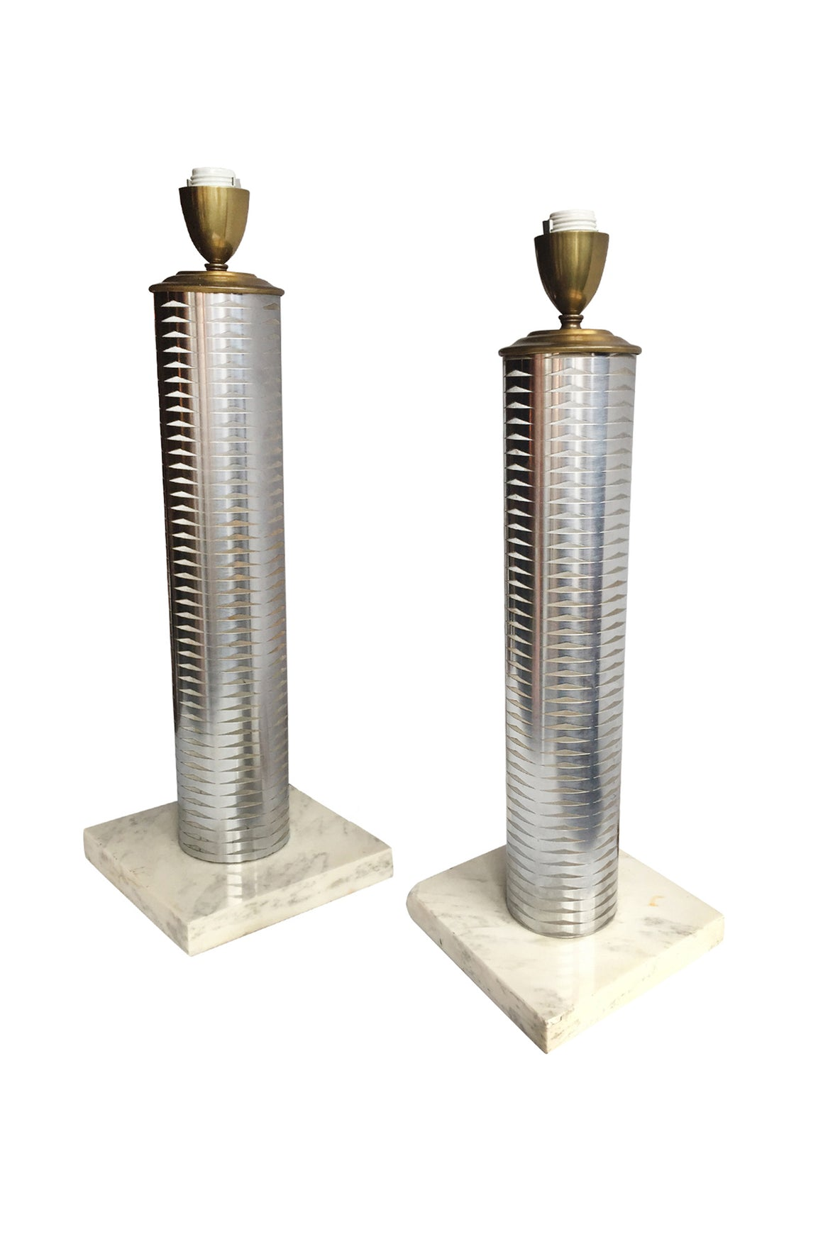 20th Century Nickel Plated & Marble Table Lamps - a Pair