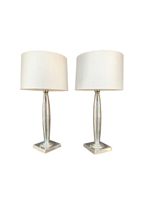 1940s Art Deco Aluminum Table Lamps
