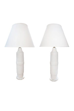 Pair of Mid-Century White Ceramic Table Lamps