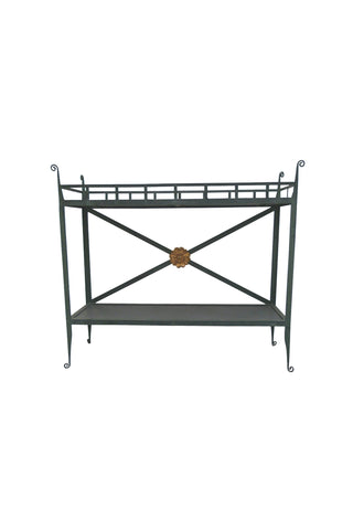 20th Century Patinated Green Metal Console Table