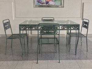 20th Century Art Nouveau Style Garden Set - 4 Chairs & Table