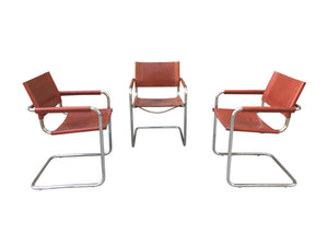 1970s Stendig Leather & Chrome Dining Chairs - a Set of 6