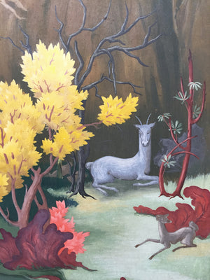 """Nudes & Deer at Riverbank"" Gouache Painting, Artist Unknown"