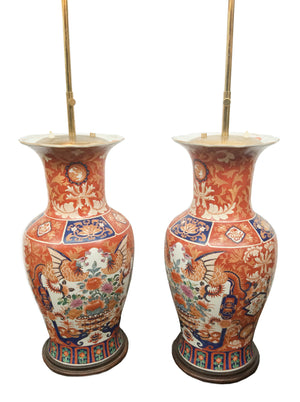 Pair of Tall 1940sImari Ceramic Table Lamps