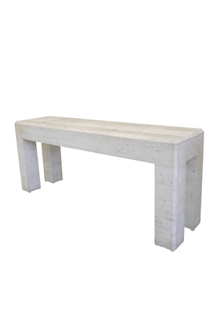 20th Century Travertine Console Sofa Table in the Manner of Maitland Smith
