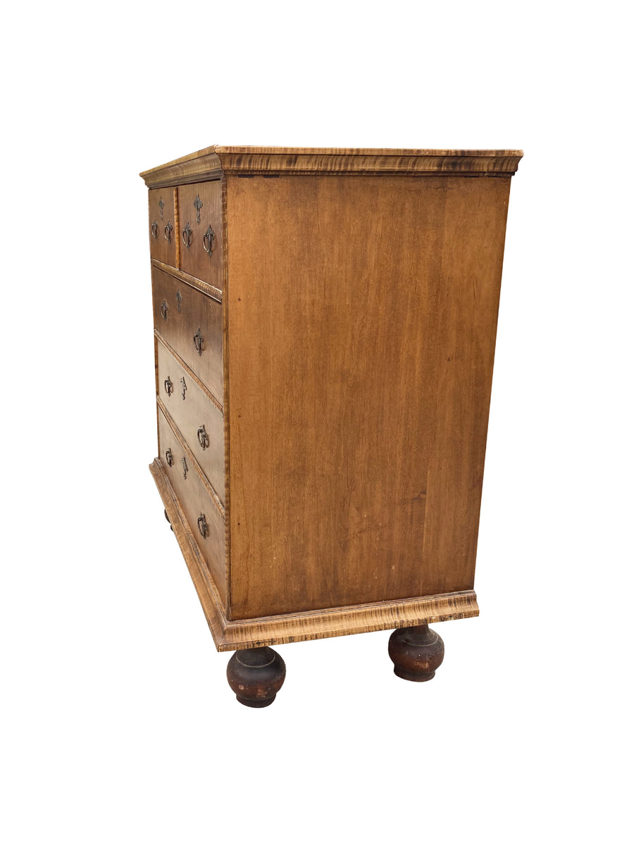 20th Century William & Mary-Style Maple Chest of Drawers