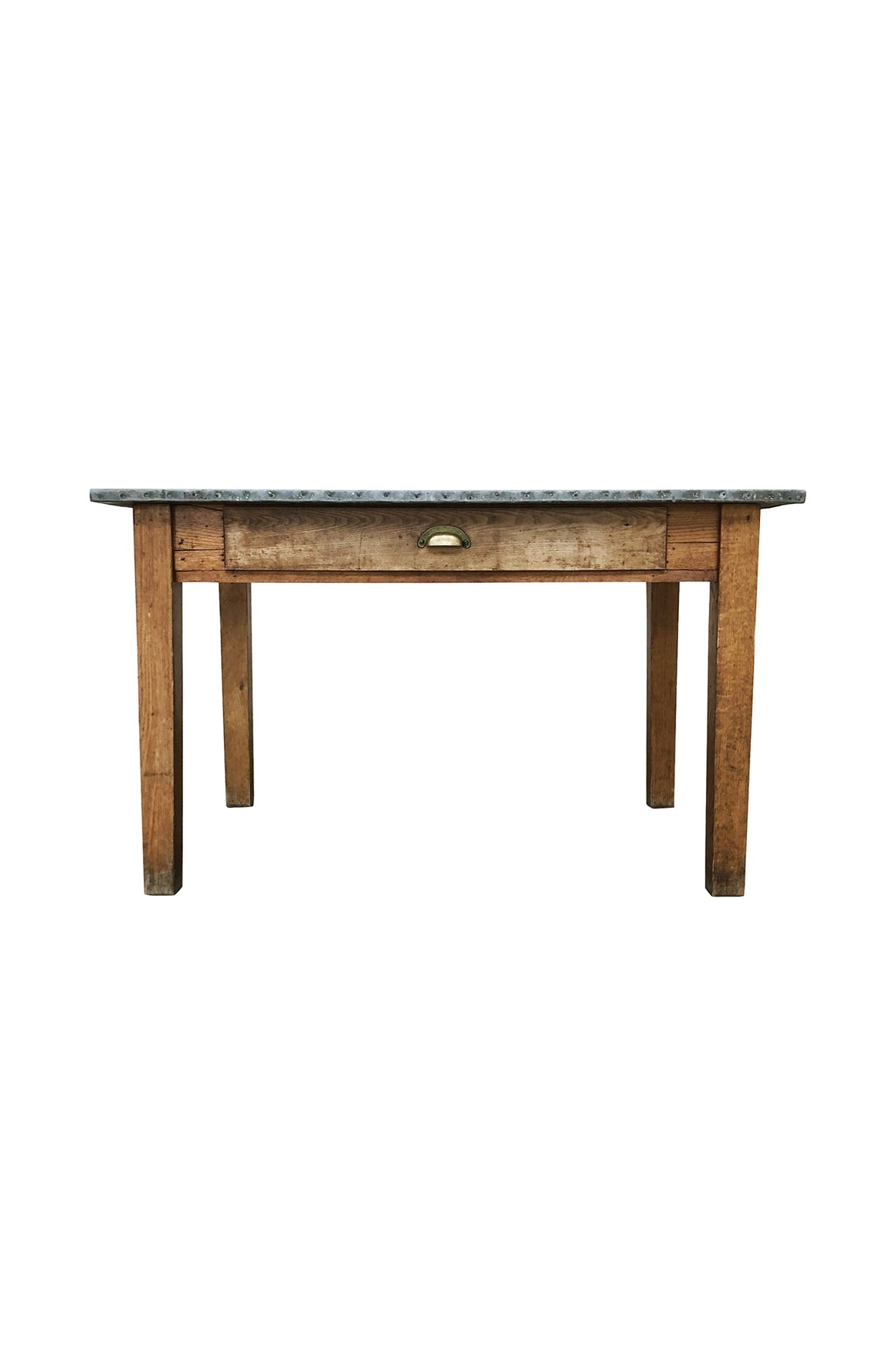 20th Century Industrial Table With Zinc Top