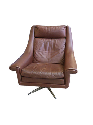 1960s Aage Christensen Model Ambassador Leather Lounge Chair