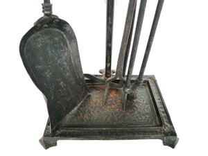 Set of Antique Cast-Iron Andirons and Tools by Bradley & Hubbard