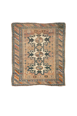 "Antique Caucasian Area Rug - 3' 6"" x 4'"