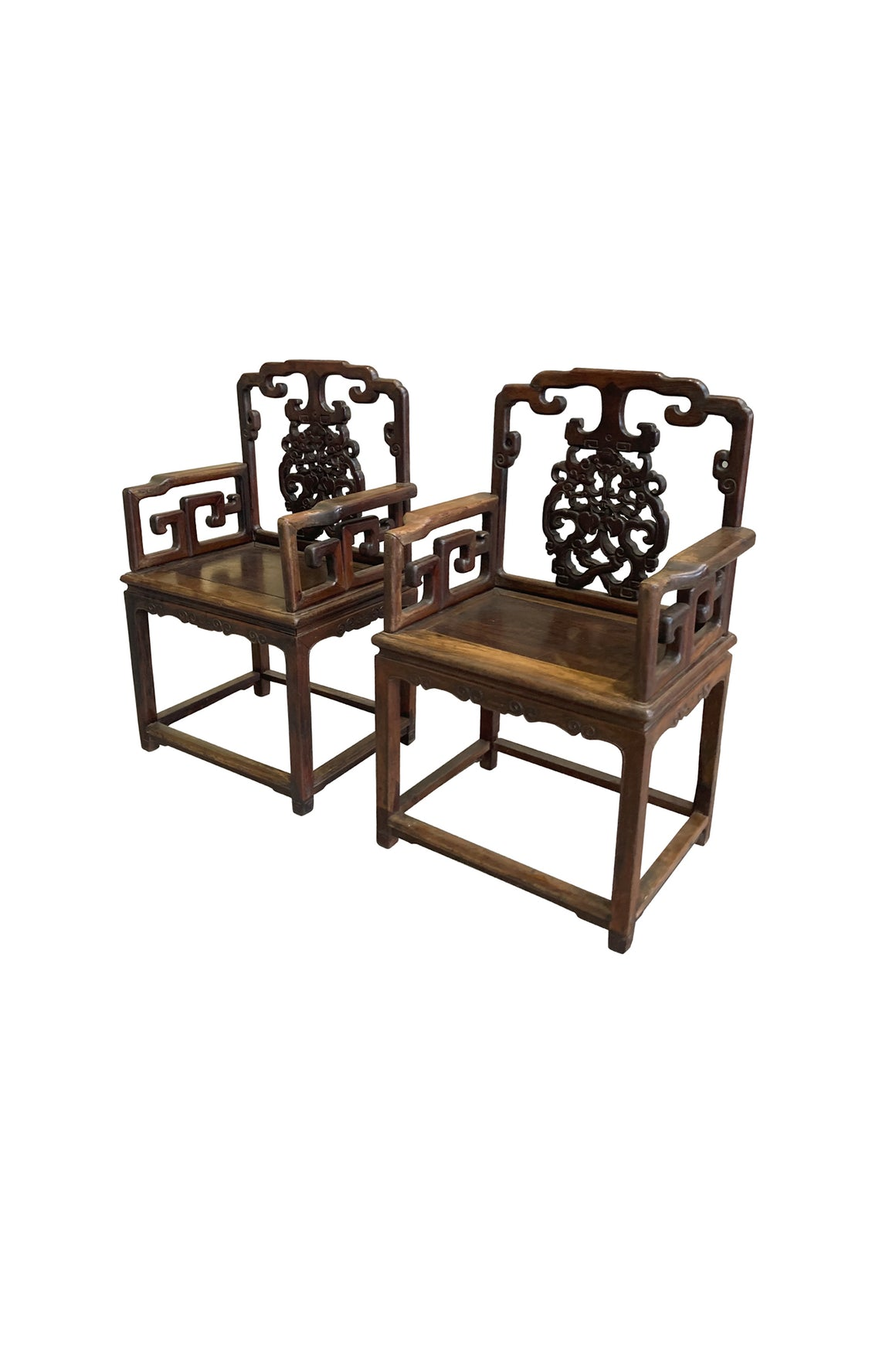 Pair of Antique Chinese Rosewood Armchairs