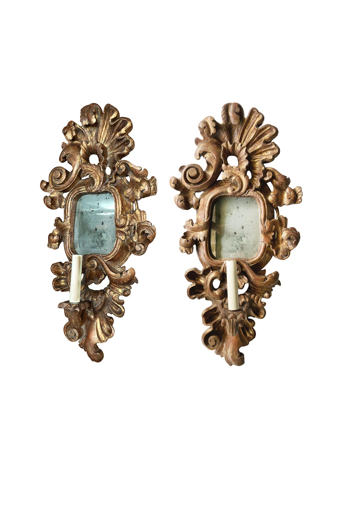 Pair of Antique Giltwood Mirror Sconces