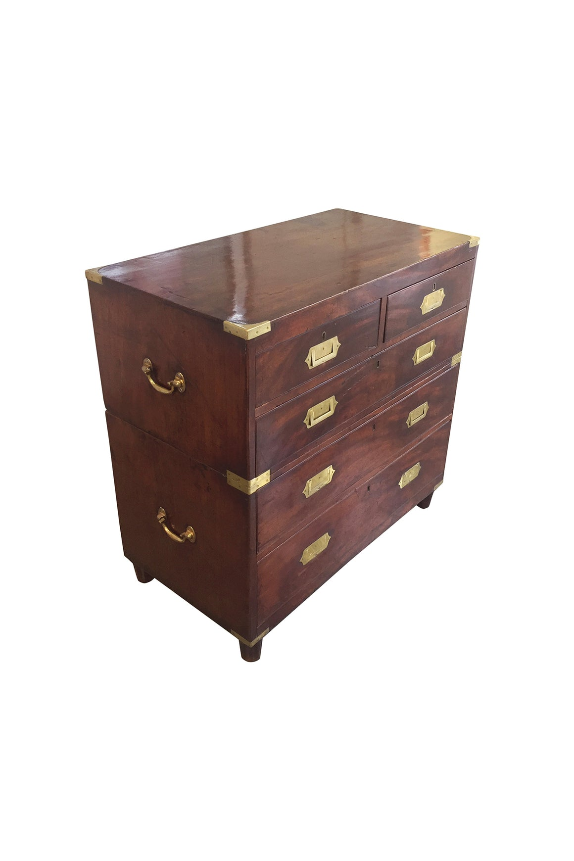 Antique English Mahogany Campaign Chest