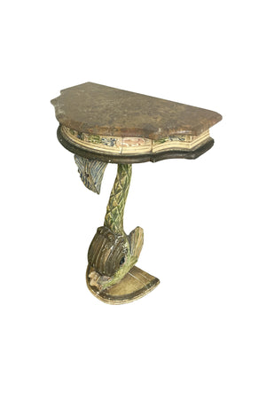 Antique Painted Carved Demi-Lune Table Stand