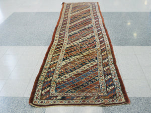"Antique Persian Bidjar Runner Rug - 161"" X 42"""