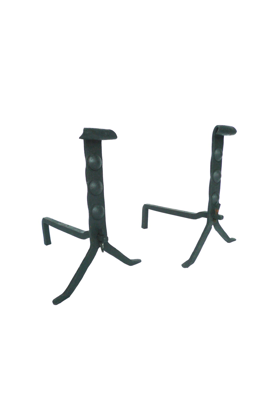 Pair of Antique Wrought Iron Andirons