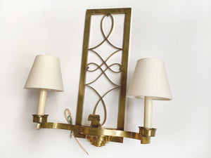 Pair of Art Deco Brass Double-Arm Sconces