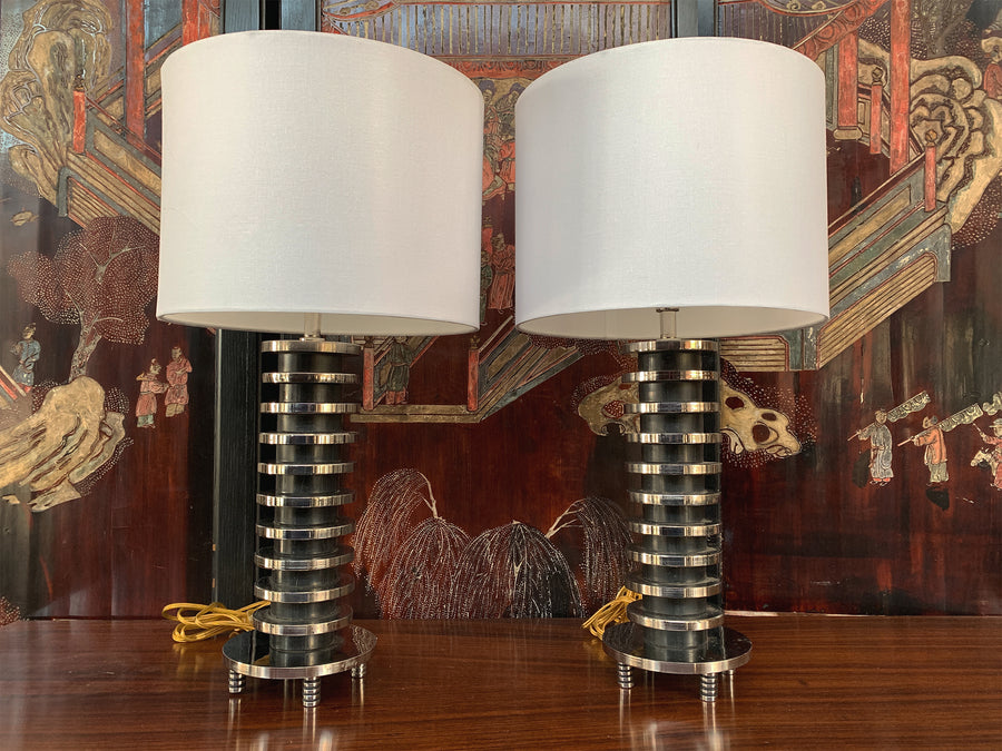 Pair of Art Deco Table Lamps in the Style of Donald Deskey