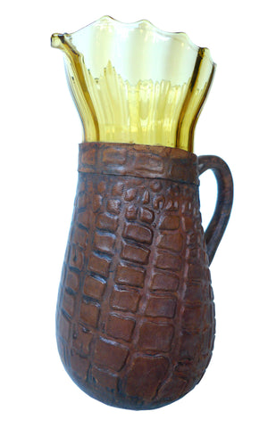 Artesania Raymon Leather-Clad Glass Pitcher