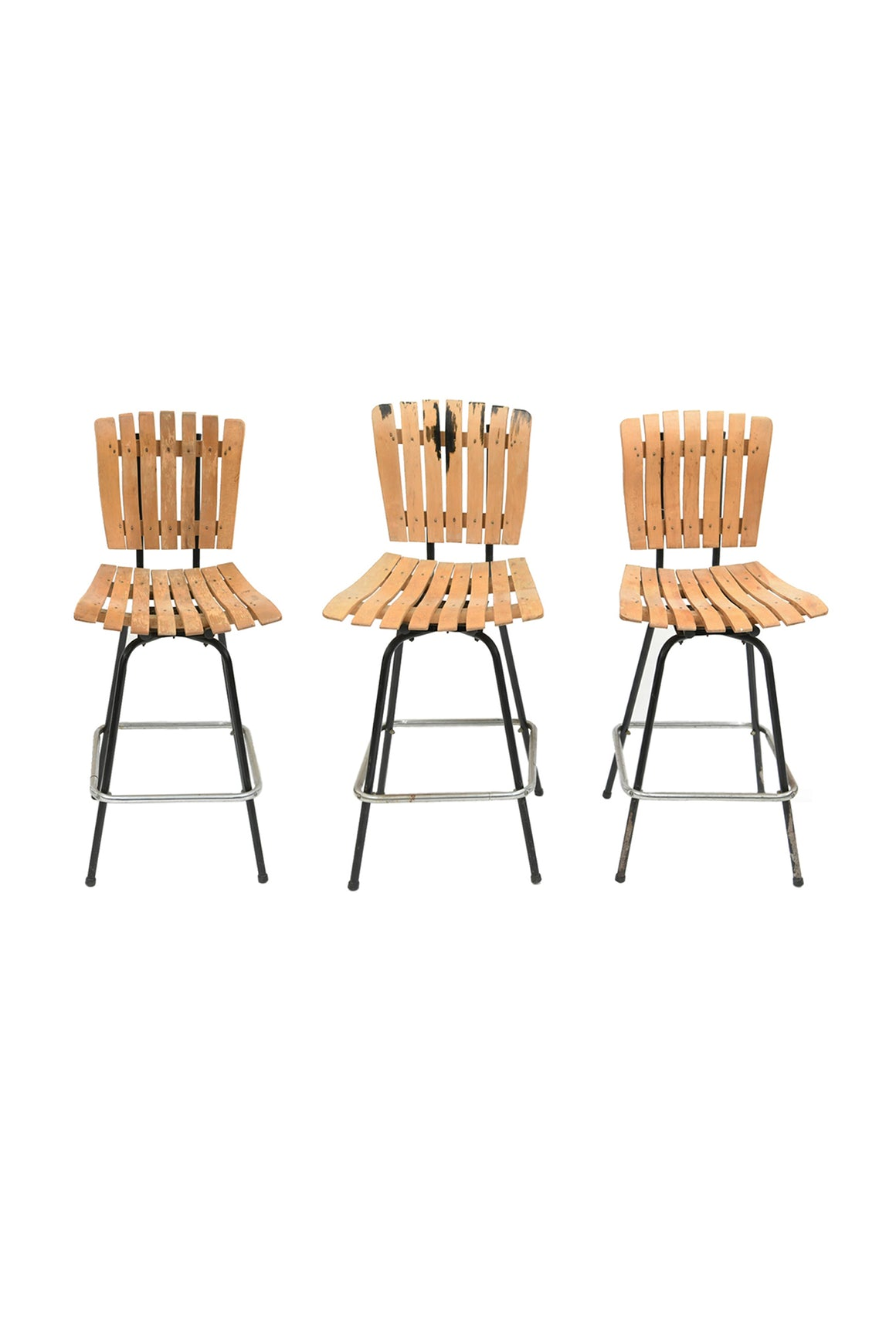 Set of 3 Arthur Umanoff Style Swivel Bar Stools