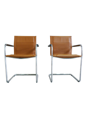 Pair of Modern Tan Haworth Exchange Arm Chairs in the Style of Mart Stam