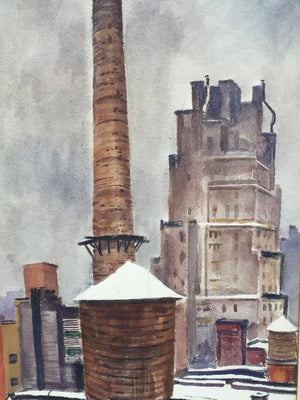 New York Cityscape Watercolor by Bertram Hartman, 1939