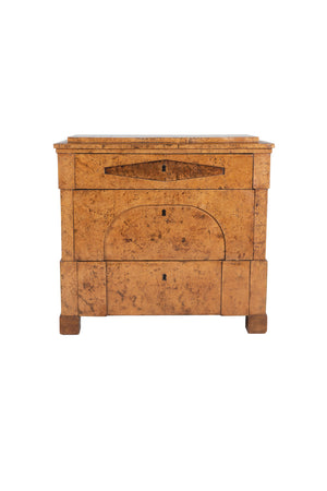 19th Century Biedermeier Burlwood Chest of Drawers