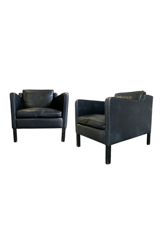 Stouby Black Leather Club Chairs in the Style of Børge Mogensen