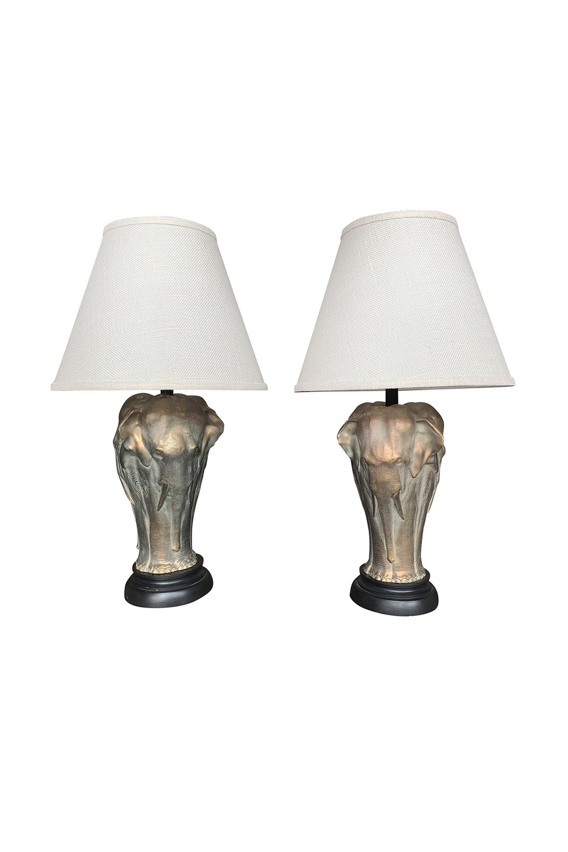 Pair of 20th Century Bronze Elephant Table Lamps