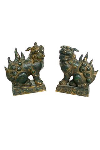 Pair of Cast-Iron Guardian Lions (Foo Dogs)