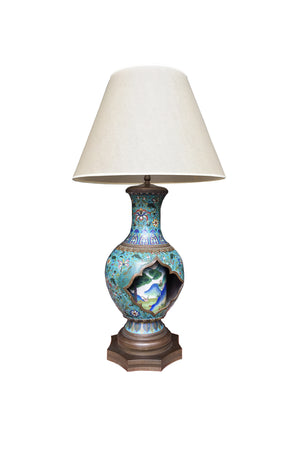 Antique Chinese Cloisonné Vase Table Lamp